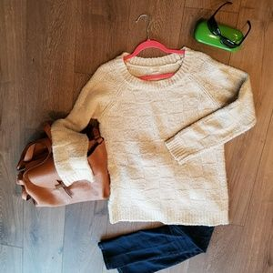 COOPERATIVE cream pullover ribbed sweater